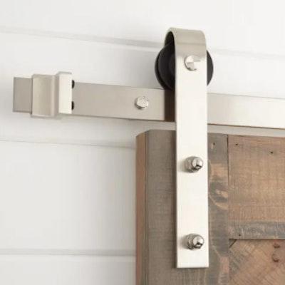 "78"" Rail Barn Door Hardware Kit in Satin Nickel Finish"