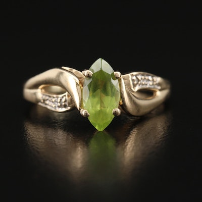 10K Peridot and Diamond Ring with Twist Detail