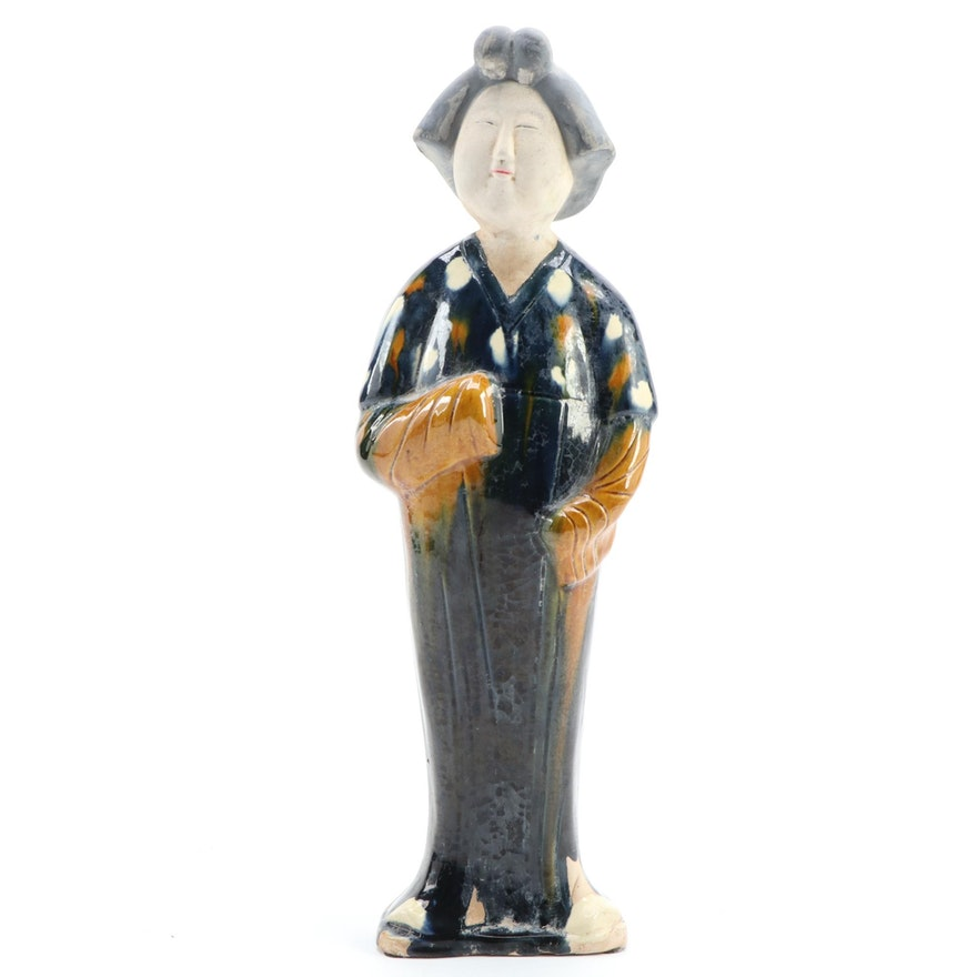 Chinese Tang Dynasty Style Sancai-Glazed Figurine of a Court Lady