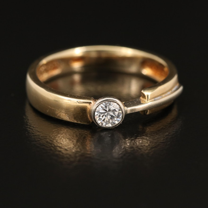 14K 0.20 CT Diamond Solitaire Abstract Band