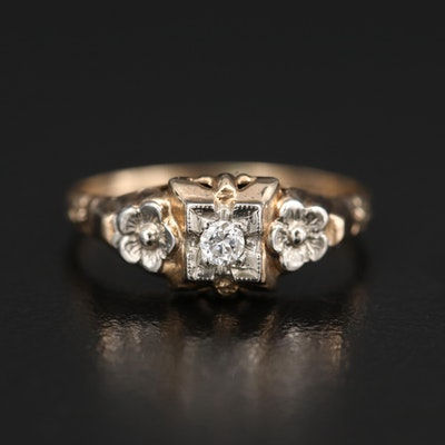 1930s 10K Diamond Ring with Flower Accents