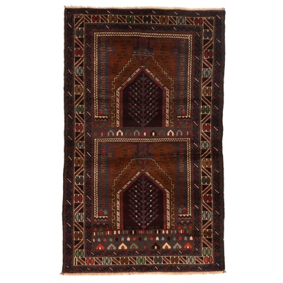 2'11 x 4'10 Hand-Knotted Afghan Baluch Accent Rug