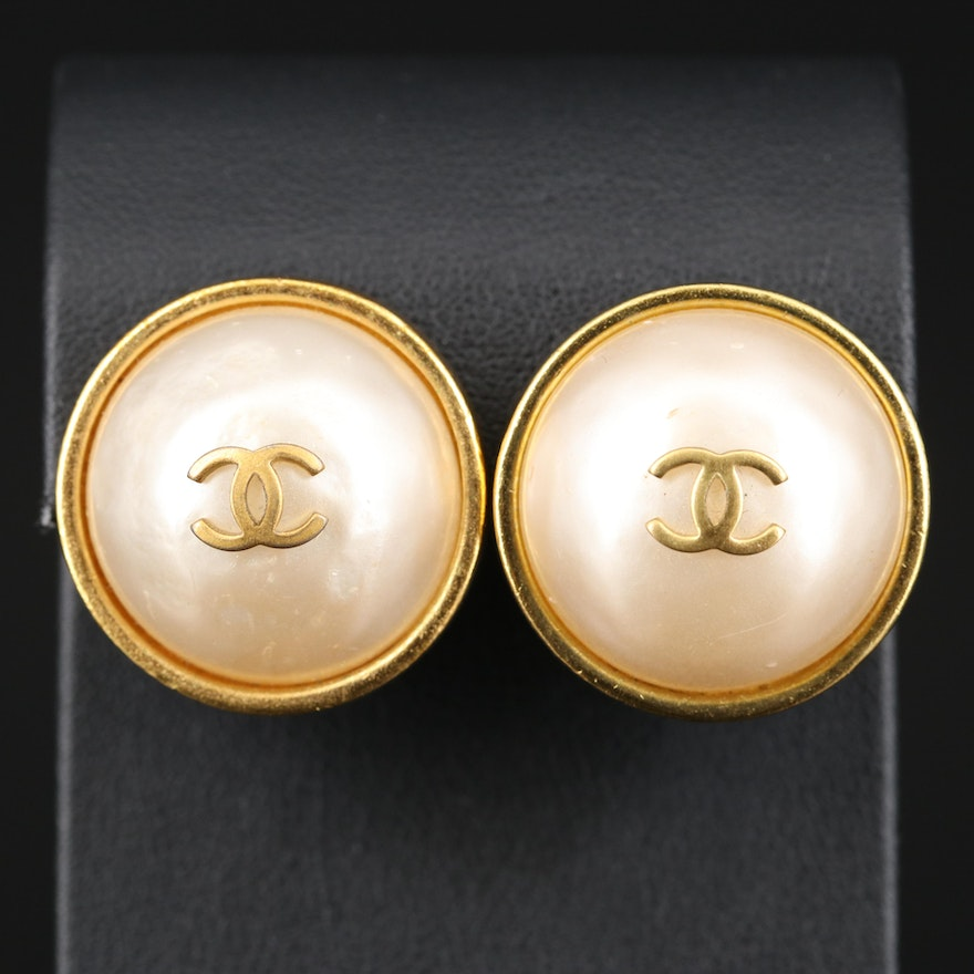 Vintage Chanel Faux Pearl Clip Earrings with Box