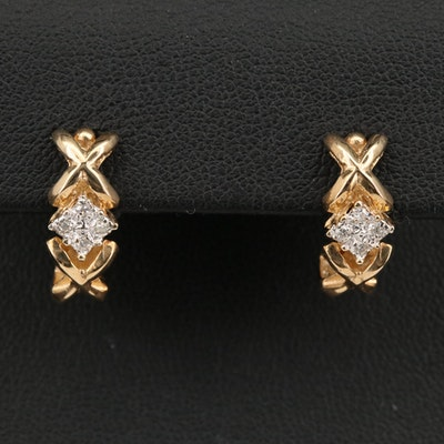 10K Diamond X and O J-Hoop Earrings