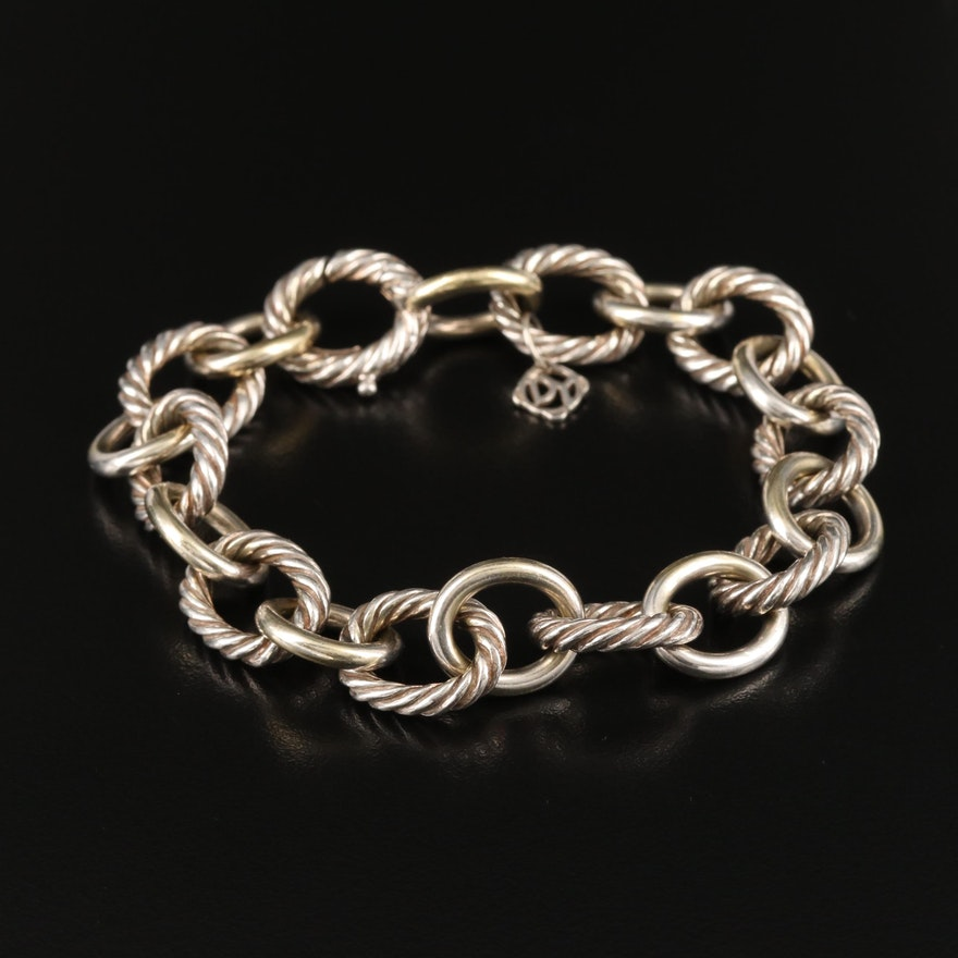 David Yurman Sterling Cable Chain Bracelet with 18K Accents