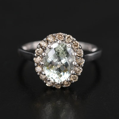 Le Vian 14K Prasiolite and Diamond Halo Ring