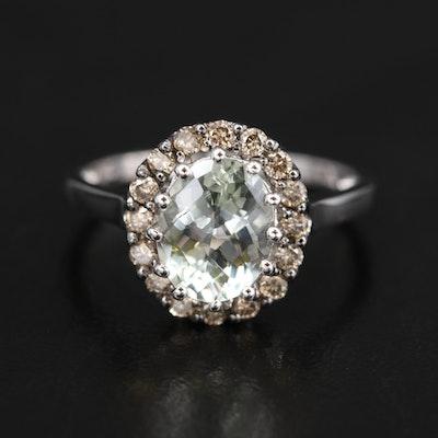 Le Vian 14K Prasiolite and Diamond Halo Ring