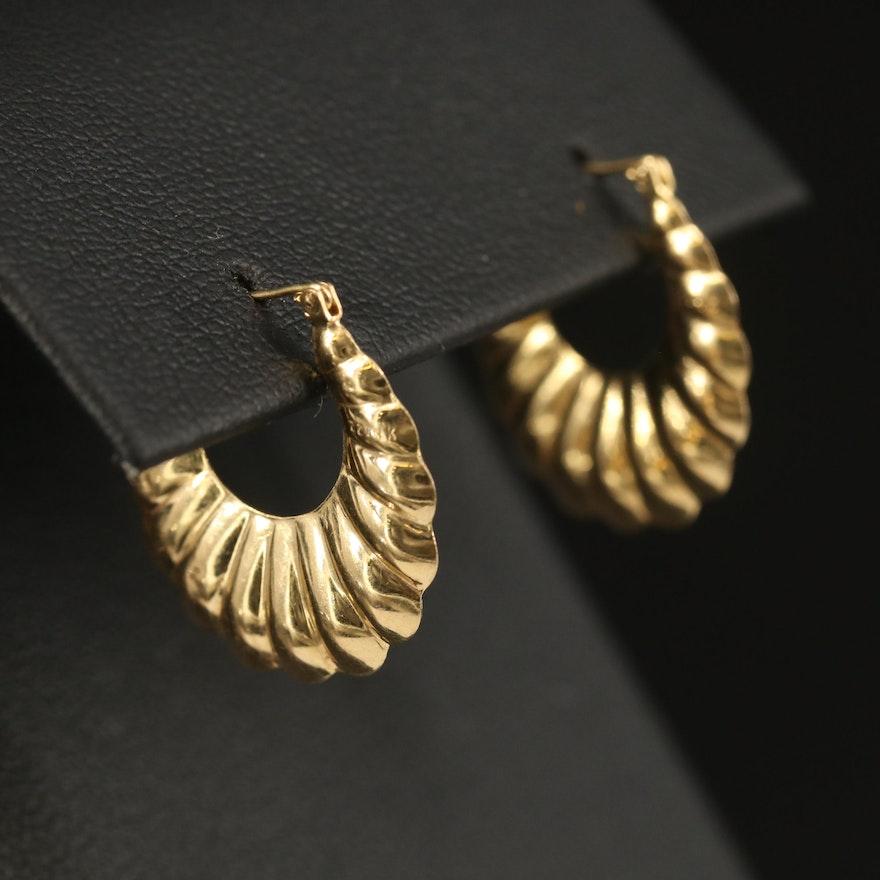 14K Fluted Hoop Earrings