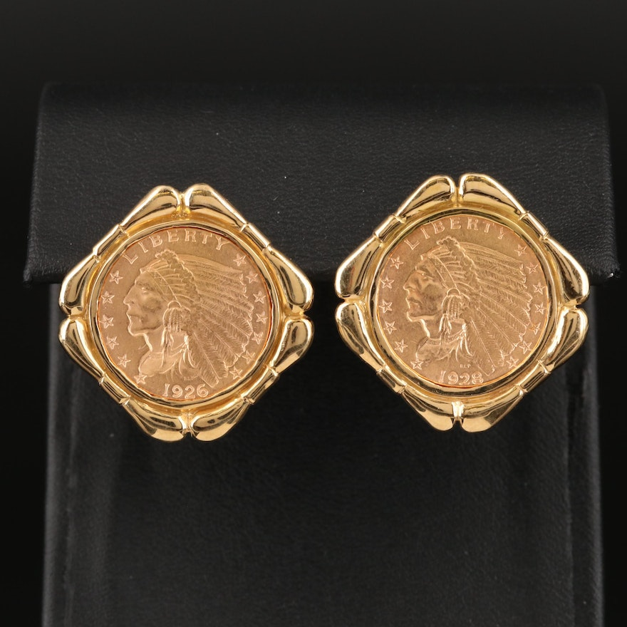 18K Two Indian Head $2.50 Gold Quarter Eagle Earrings