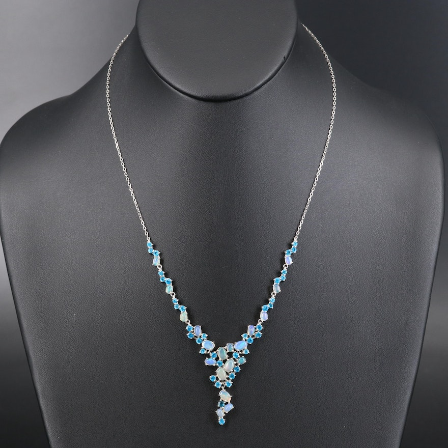 Sterling Opal and Apatite Cluster Necklace