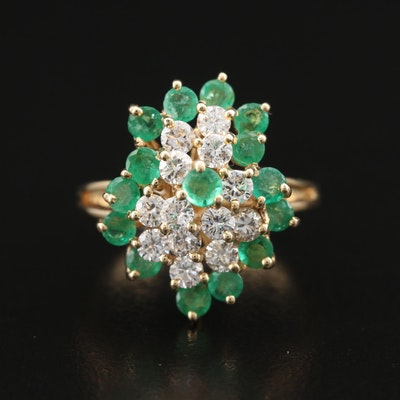 14K Emerald and Diamond Cluster Ring