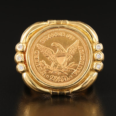 18K 1852 Liberty Head $2.50 Gold Quarter Eagle Coin Ring