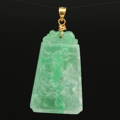14K Jadeite Tablet Pendant Featuring Stylized Chinese Characters and Dragon