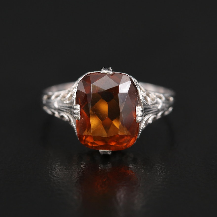 Vintage 14K Citrine Ring with Openwork and Milgrain Details