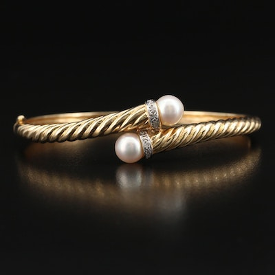 14K Pearl and Diamond Twisted Bypass Bangle