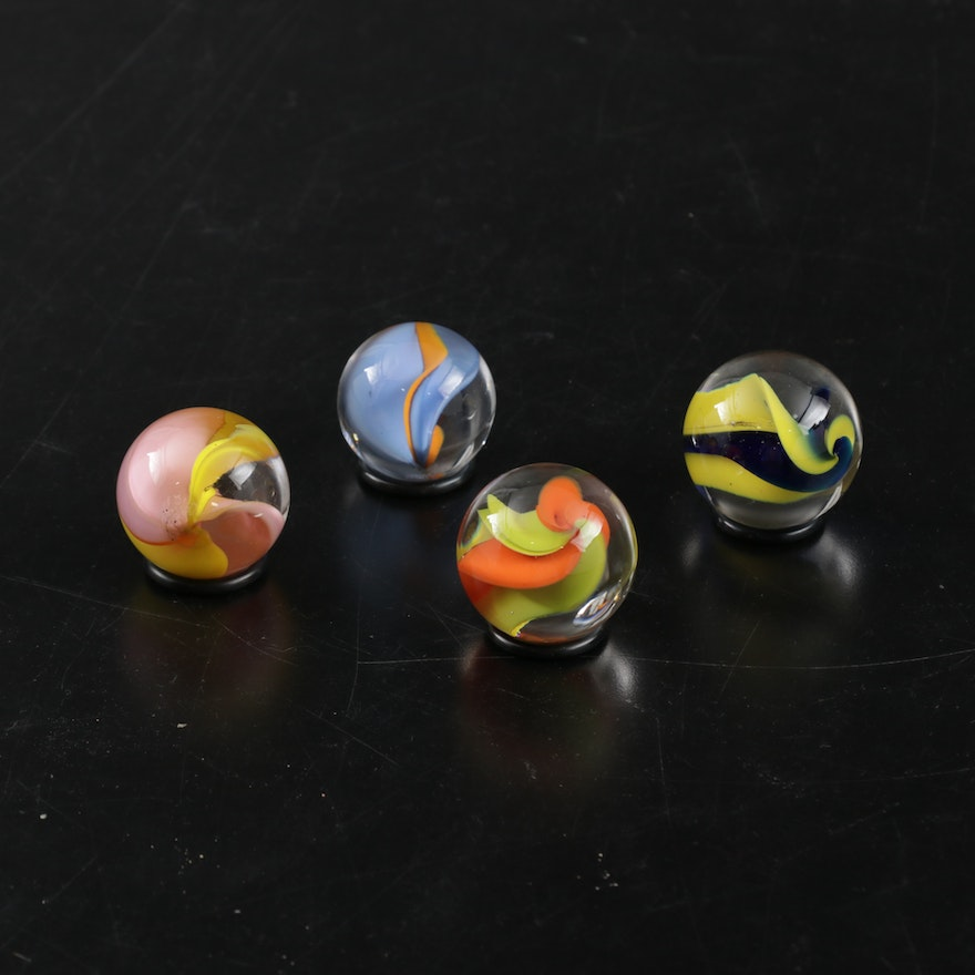 Andy Hudson Blown Glass Large Cat's Eye Marbles with Rubber Washer Stands
