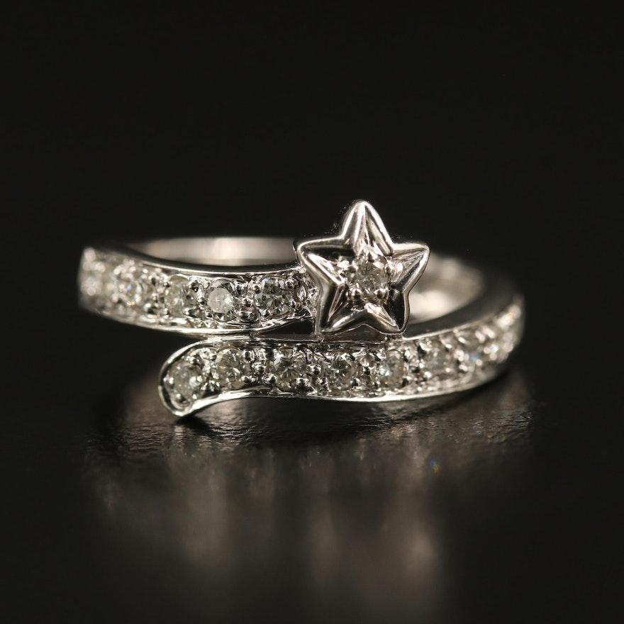 14K Diamond Star Bypass Ring
