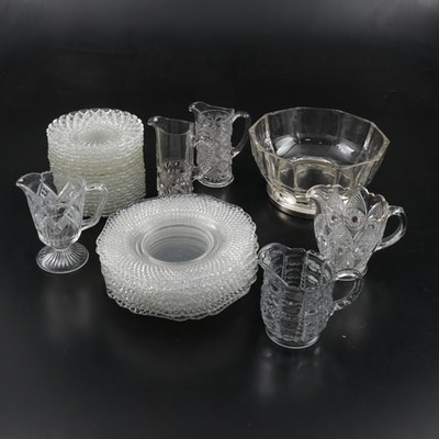 Godinger Silver Footed Serving Bowl, and Other Glass Tableware, Mid-Late 20th C.
