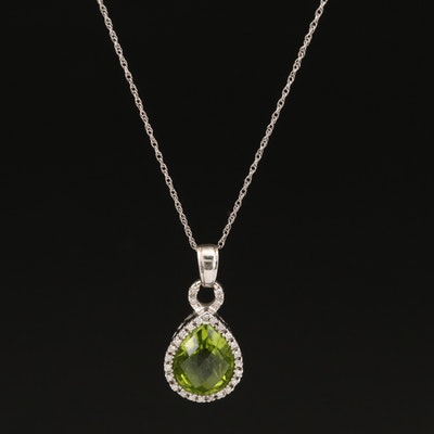 14K Peridot and Diamond Pendant on 10K Chain Necklace
