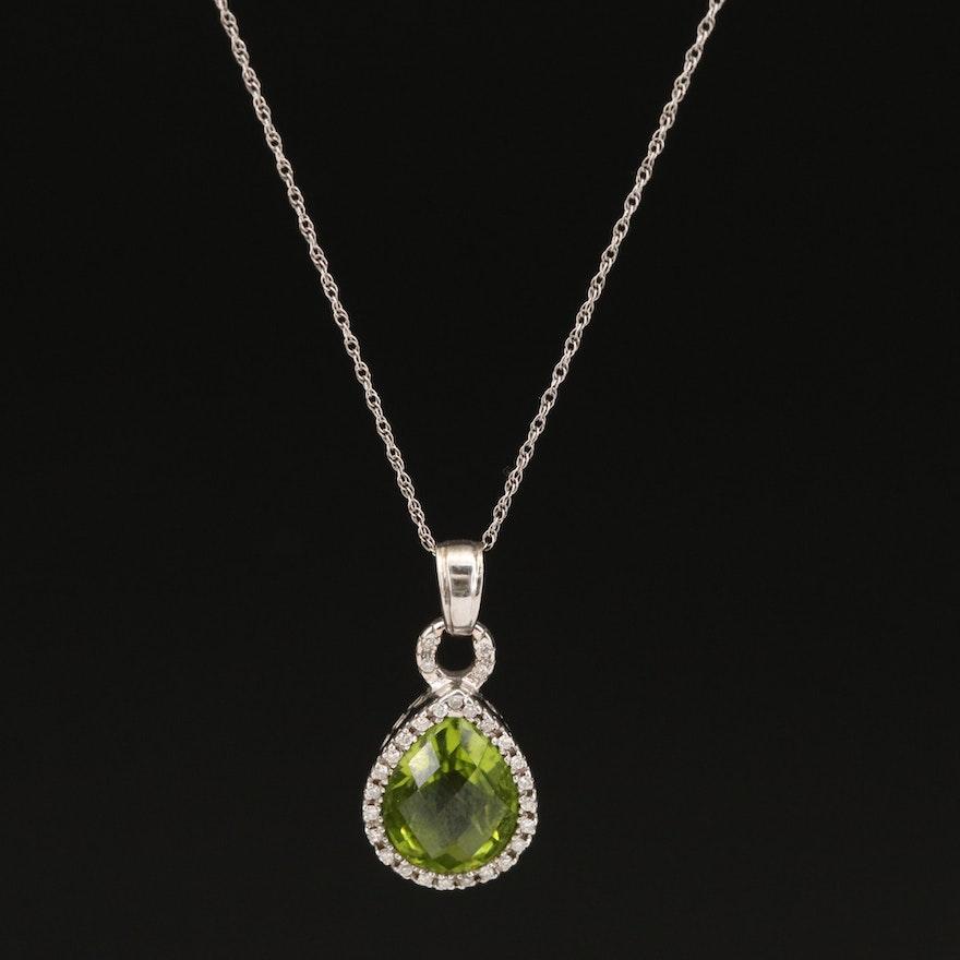 14K Peridot and Diamond Pendant on 10K Chain Necklace