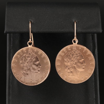 Milor Italian Earrings with Italian 50-Lire Coins