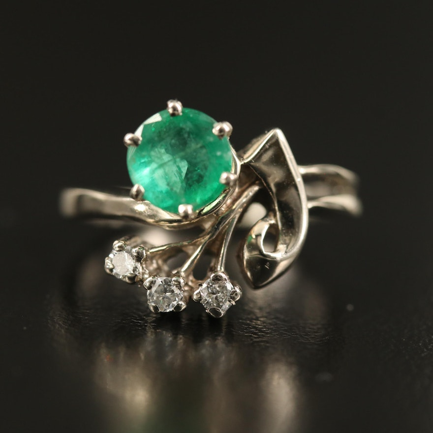 14K 1.05 CT Emerald and Diamond Ring