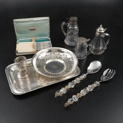Victorian Glass Syrup Dispensers and Other Silver Plate Tableware, 20th Century