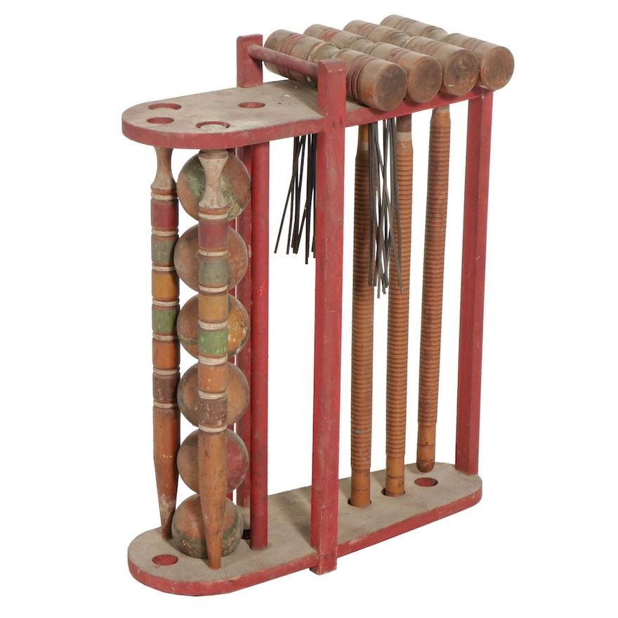 Painted Wood Croquet Set