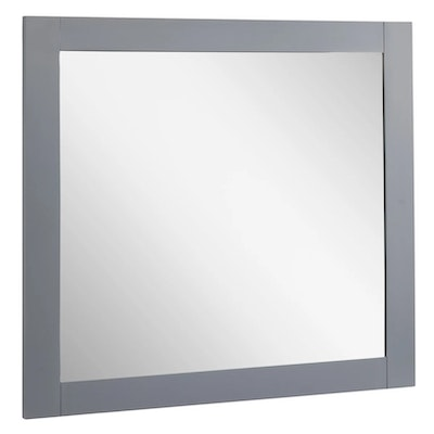 """Quen"" Rectangular Framed Wall Mount Vanity Mirror in Gray"