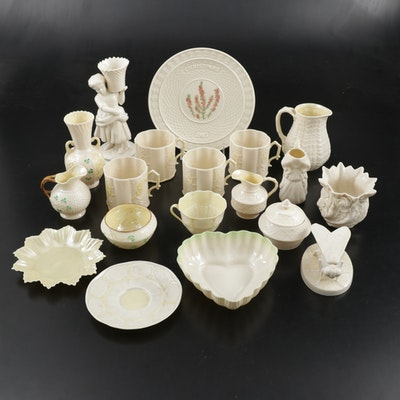 "Belleek ""Neptune"", and Other Ivory Porcelain Tableware, Mid to Late 20th Century"