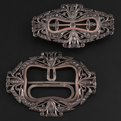 Zircon and Silver-Tone Metal Belt Buckle Set