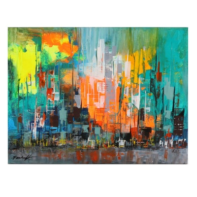 Farshad Lanjani Abstract Expressionist Style Acrylic Painting of Urban Landscape