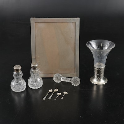 Webster Sterling Silver and Glass Vase with Other Silver and Crystal Table Décor