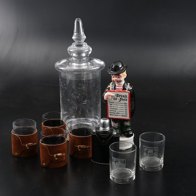 Glass Apothecary Jar and Other Barware, Mid to Late 20th Century