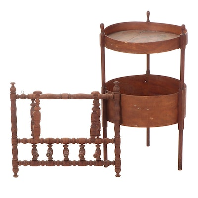 Handmade Fruit Crate Table with Spindle Hanging Coat and Hat Rack