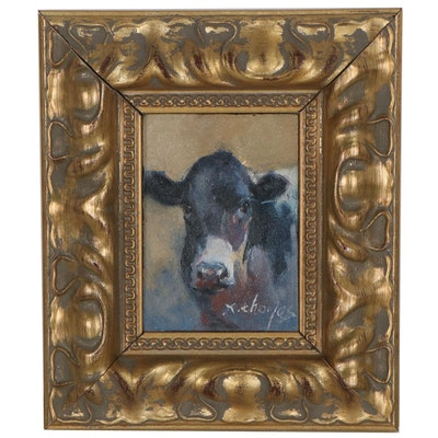 X. Thomas Miniature Oil Painting of Cow, Late 20th Century