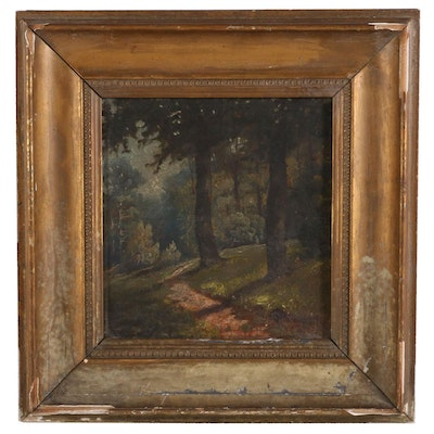 Forest Landscape Oil Painting, Late 19th Century