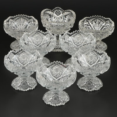 American Brilliant Style Pressed Glass Coupes, Early to Mid 20th Century