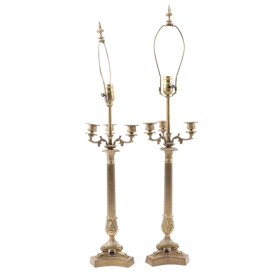 Neoclassical Brass Column Design Candelabra Table Lamps, Pair