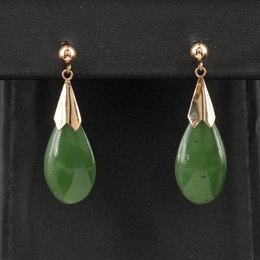 14K Nephrite Earrings