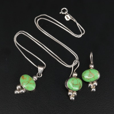 Sterling Silver Faux Gaspeite Necklace and Earring Set