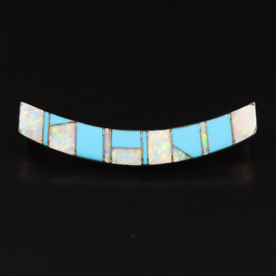 Signed Southwestern Sterling Opal and Faux Turquoise Slide Pendant