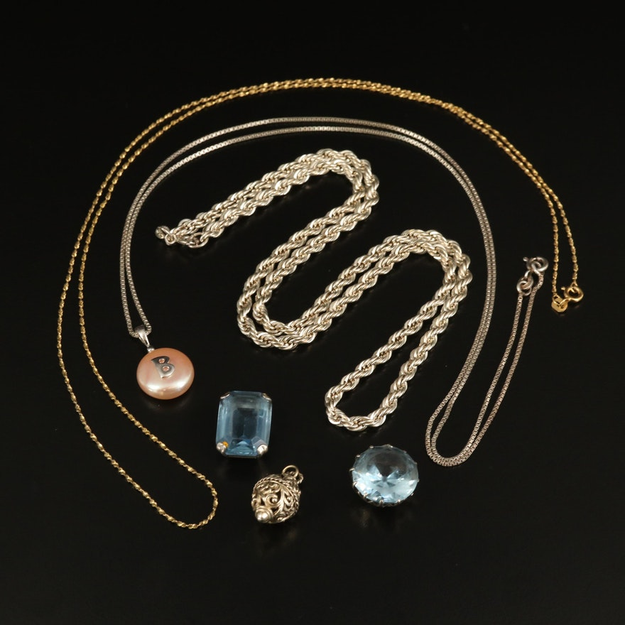 Sterling, 900 and 800 Silver Jewelry with Spinel and Pearl