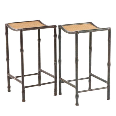Pair of Faux-Bamboo Painted Metal Bar Stools