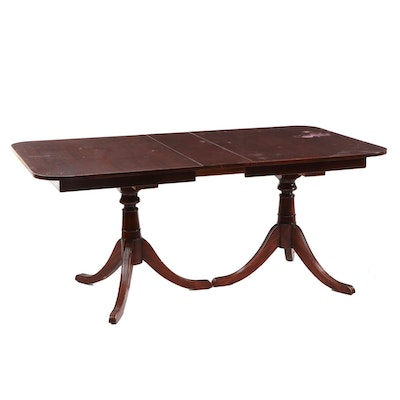 Classical Style Mahogany Double-Pedestal Extending Dining Table, 20th Century