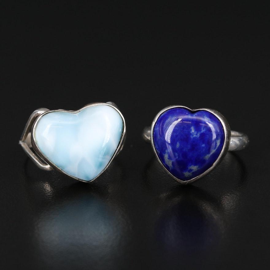 Sterling Lapis Lazuli and Larimar Heart Rings