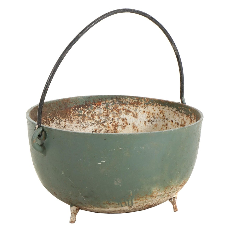 "Painted Cast Iron 26"" Footed Cauldron, Late 19th to Early 20th Century"