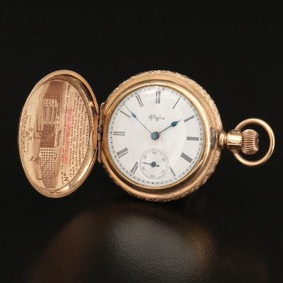 1893 Elgin 14K Gold Filled Hunting Case Pocket Watch