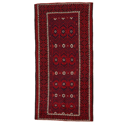 4'11 x 10'1 Hand-Knotted Afghan Turkmen Area Rug