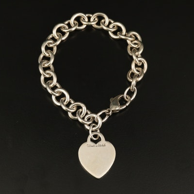 Tiffany & Co. Sterling Monogrammed Heart Tag Bracelet